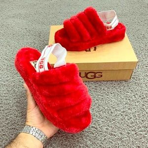 Red Ugg Fur Slippers